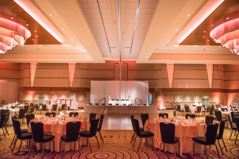 Arcadia Ballroom Reception Setup, Orange